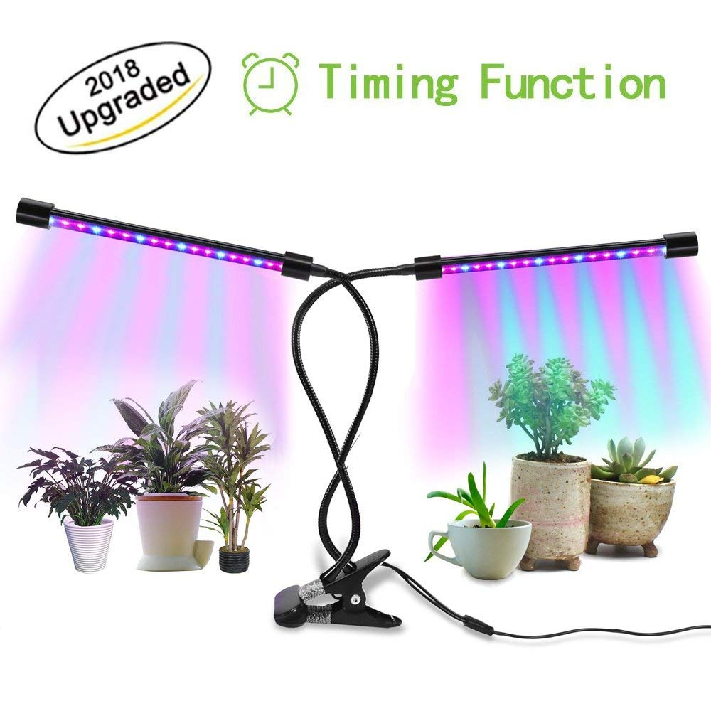 Timing LED Grow Light,18W Dual Head Plant Grow Light Lamp with Timer for Indoor Plants and Seedlings,3/9/12H Timer,36 LED with Adjustable Gooseneck,8 Dimmable Levels