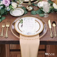 Wedding event party Wholesale dinnerware High-end western food Gold glass charger plate