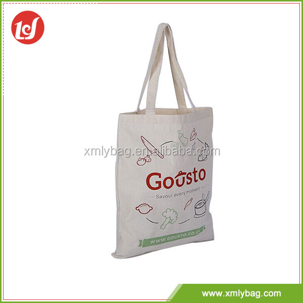 Hot sale white luxury custom cotton shopping bag printing