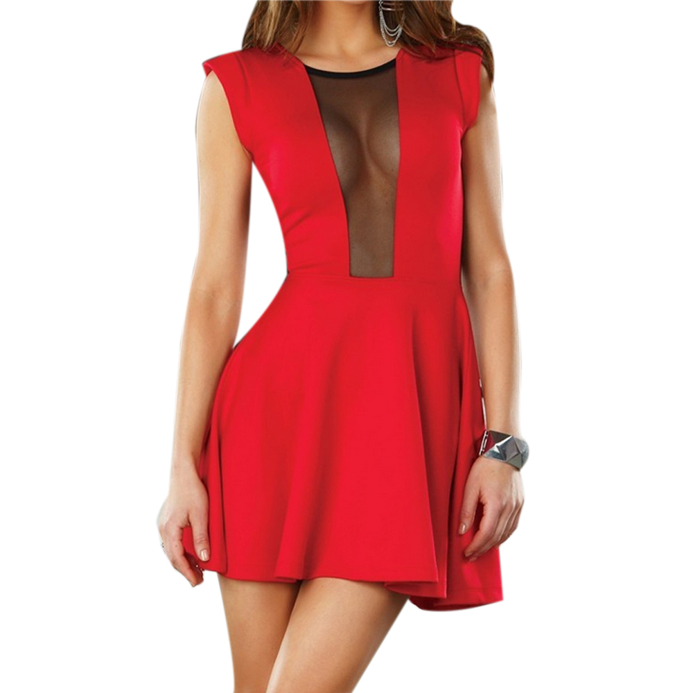3fd04ef81d Get Quotations · New 2015 Summer Sexy Women Mini Dress Sleeveless Mesh  Hollow Out A-Line Clubwear Party