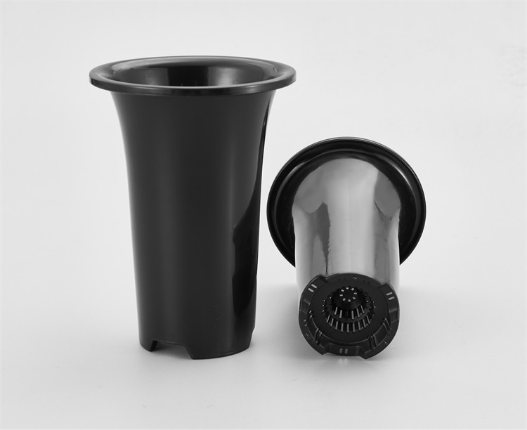 Simple Black Pagoda Design Omnidirectional Ventilation Plastic Orchid Plant Pot