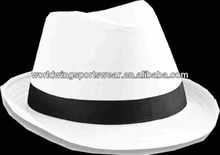 Mens custom plain cotton white with black band fashion hat