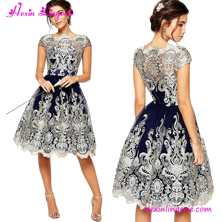 Premium Embroidery Metallic Lace Formal Skater Evening Dresses Made In China