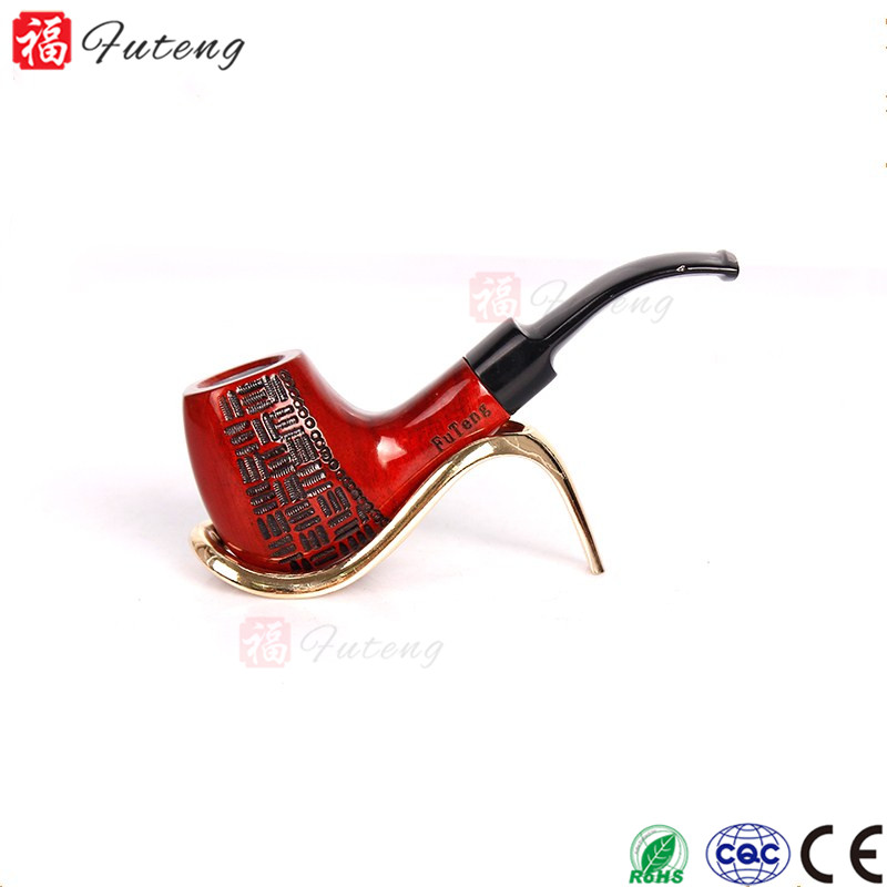 Wooden Smooth Standard Chimney Smoking Tobacco Pipe Bent Pipe Poker Mouthpiece Pipes Wholesale