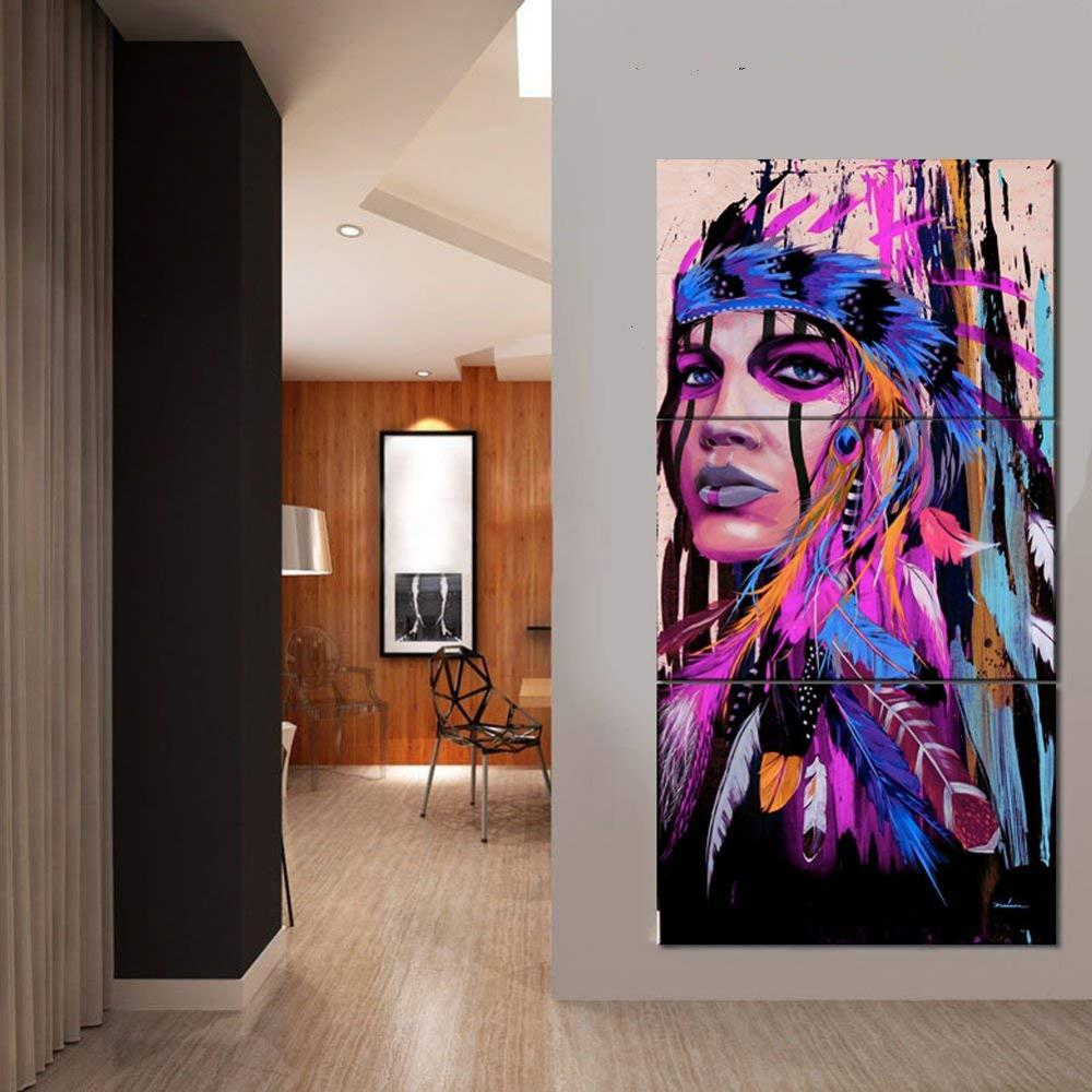 3 Panels Native American Indian Girl Canvas Print Wall Painting Art On Canvas On Wholesale