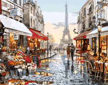 Paris street diy canvas oil painting by numbers for wholesales