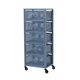 Vintage industrial metal mesh cabinet storage chest with 5 drawers