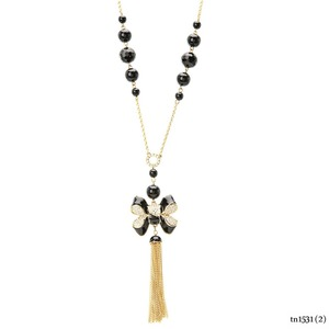 Black Beads Long Enamel Knot Miss Khloe Tassel Necklace