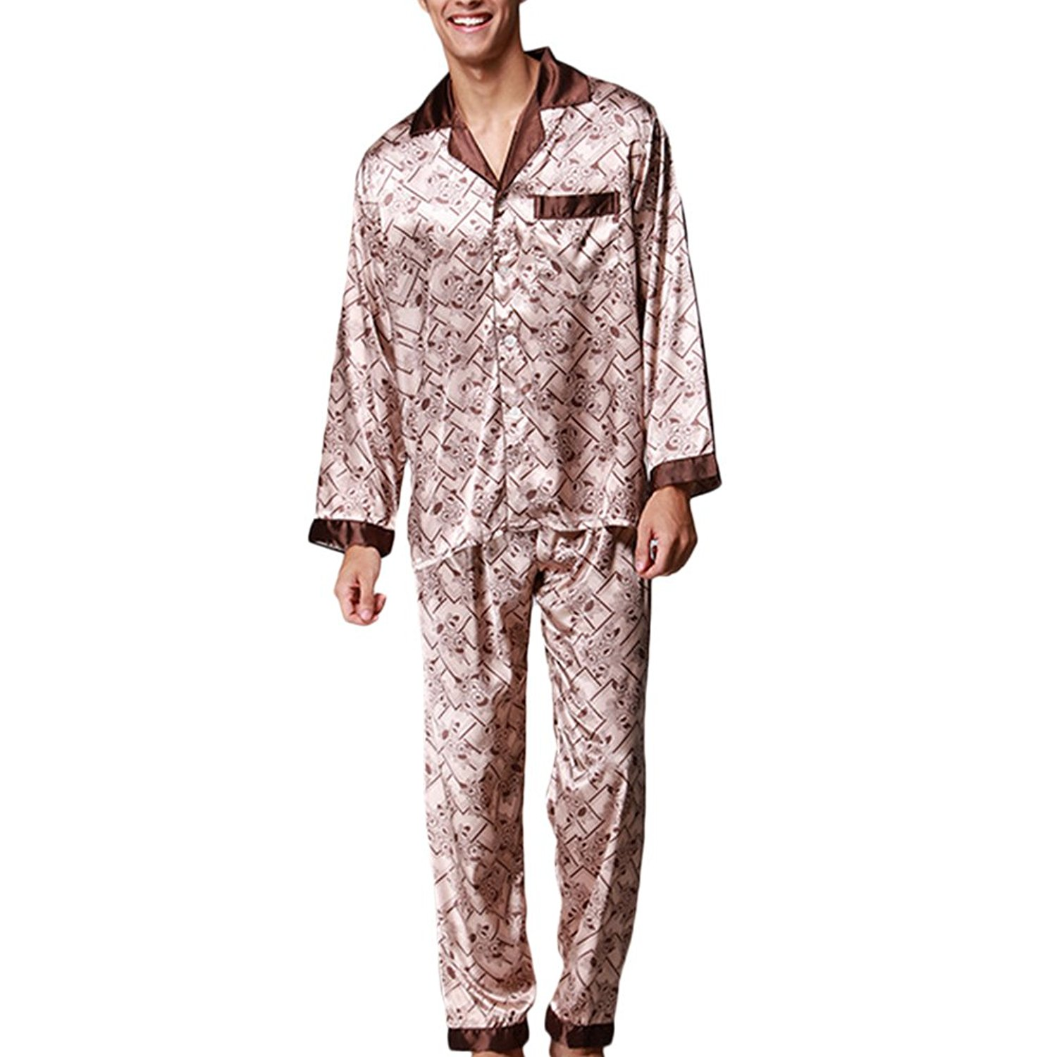 d3a2ed376f Get Quotations · Zhuhaitf Mens Long Sleeve Silk Pyjama Set Suit Classic  Nightwear Home Clothing