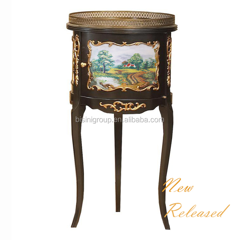 Antique European Baroque Black and Gold Wood Carving Corner Table with Decorative Trim BF12-07314a