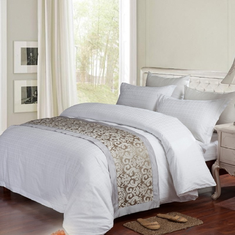 haute qualit blanc coton jacquard ensemble de literie. Black Bedroom Furniture Sets. Home Design Ideas
