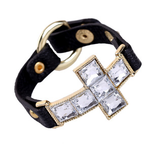 Fashion Alloy Ring Clasp Genuine Leather Inlay Crystal Cross Bracelet For Men Wholesale NS8063156
