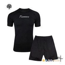 OEM sports clothing mens wear summer fitness matching black shirt and shorts track suits