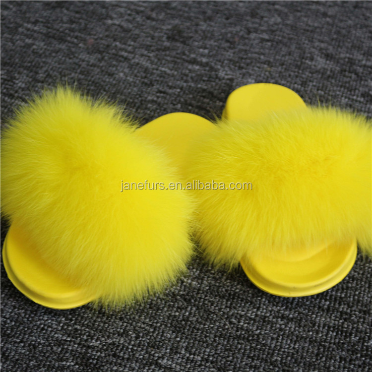 Wholesale Kids Cute Fur Lined Candy fox fur Soft Sandals Girls Cheap fur  Slides Slippers