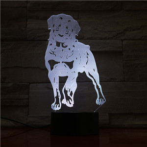 Cute Pet Dog 3D Effect Toy Lamp Power Source USB Cable Touch Switch Lamp LED Night Lamp for Kids Gift