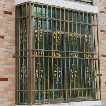 Wrought iron window guard grill design image buy wrought for Window protector designs