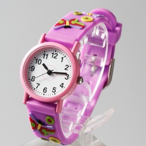 Cheap plastic Child watch of 3D colorful straps with different kids cartoon pictures