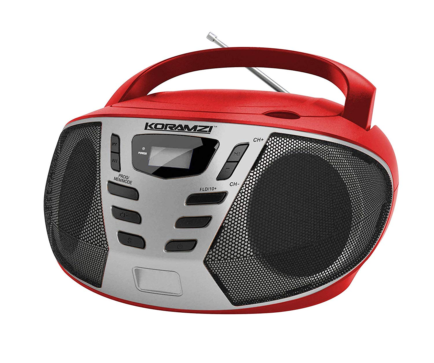 KORAMZI Portable CD Boombox w/ AM/FM Radio,AUX IN, Top Loading CD Player,Telescopic Antenna, LCD Display for Indoor & Outdoor (Red/Silver) CD55-RDS(Certified Refurbished)