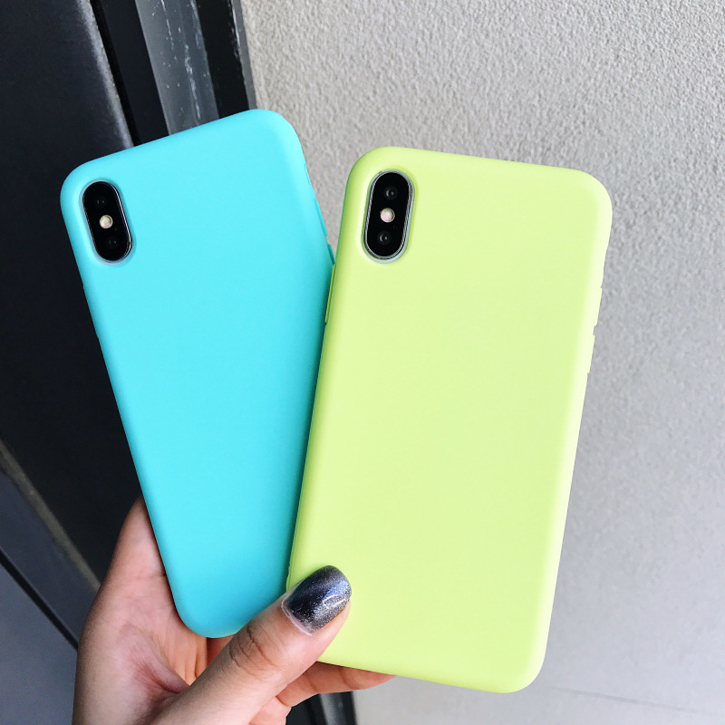 New Simple Solid Color Candy Color Soft TPU Case for <strong>iphone</strong> x 6 7 8 plus