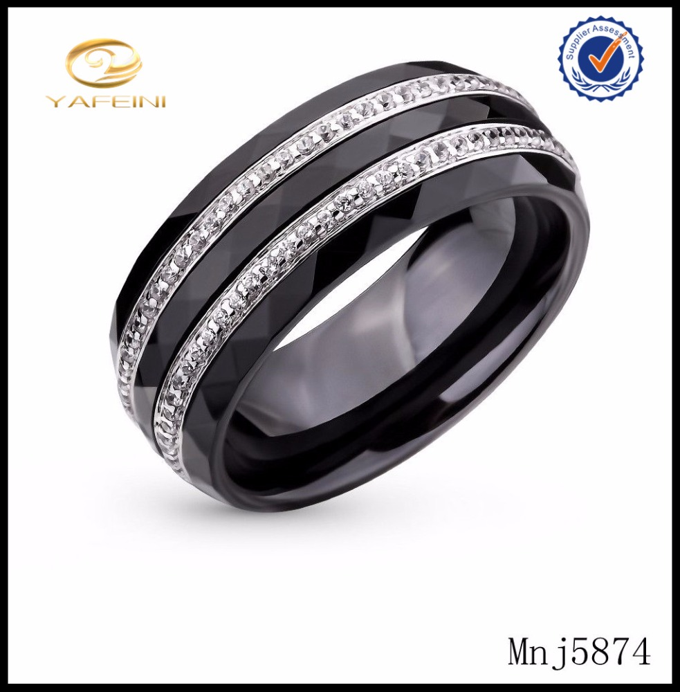 925 Sterling Silver Double Lines Crystal Black Ceramic Ring Wholesale