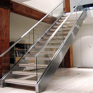 Luxury straight staircase high quality modern design steel structure timber stair