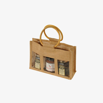 Wooden Handle Small Jute Burlap Gift Bags With Clear Pvc Window