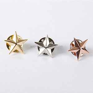 3D gold/silver/rose gold star metal lapel pin for company promotion