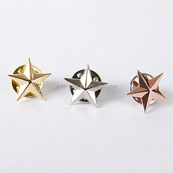 3d gold silver rose gold star metal lapel pin for company promotion