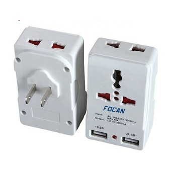 5V 2.1A  Universal to US USA America Travel Adapter plug with Dual USB ports
