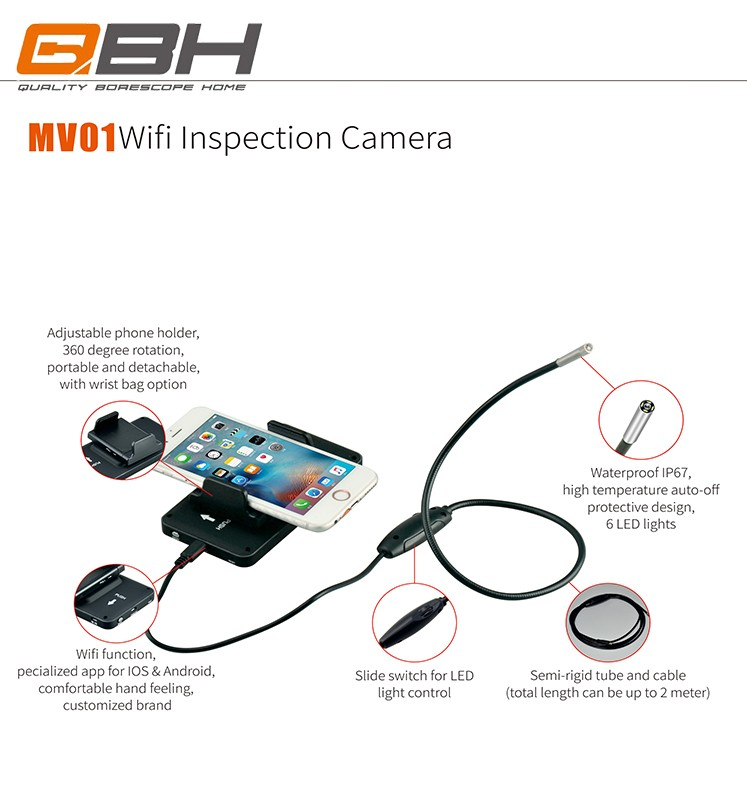 Small wifi smartphone borescope camera