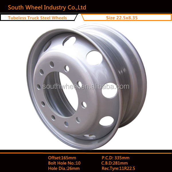 Wheel manufacturer 22.5 steel wheels wide 8.25 for truck and bus tyre