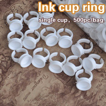 500pcs Permanent Makeup Plastic Ring Shape Tattoo Ink Cups Cap