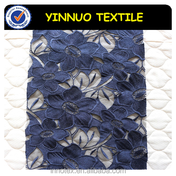 Nice design Blue organza embroidery lace fabric