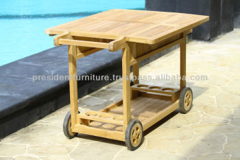 Fsc Teak Serving Trolley