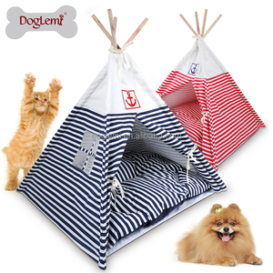 Navy Stripes Foldable Dog Bed Pet Camping Tents