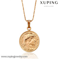 31922 Christmas gift rose gold color coin pendant