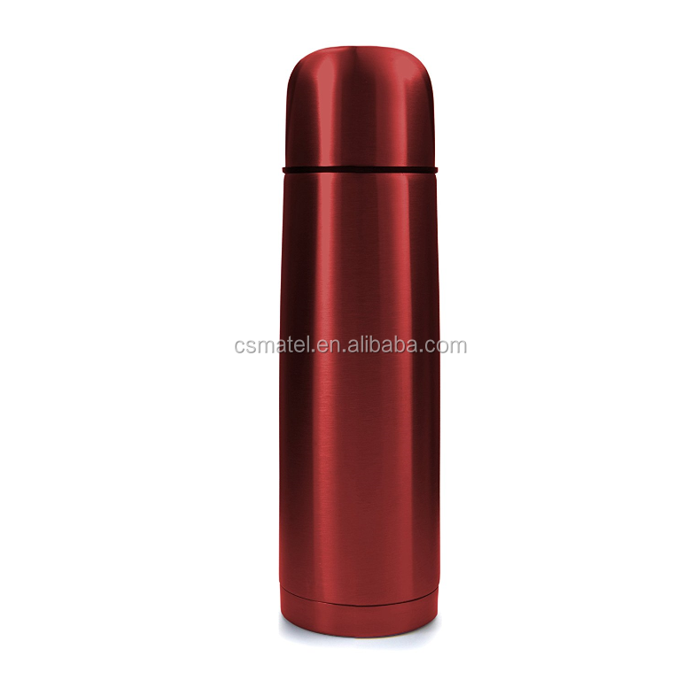 Red Stainless Steel Vacuum Insulated Flask,Thermos Construction with Cup Cap and Pourable Stopper, 17oz/500ml