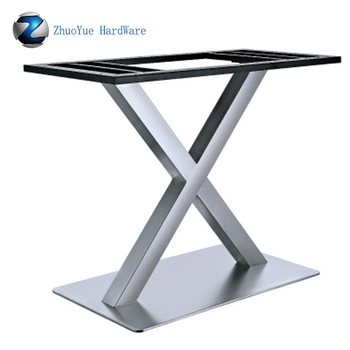 Heavy Duty Brushed Aluminum Folding Table Base X Shape Stainless Steel Metal Legs Manufacturers