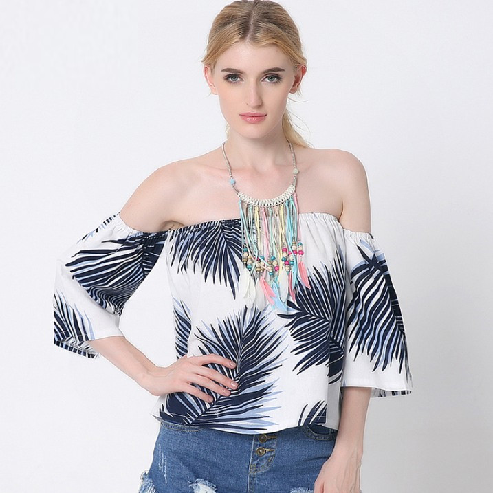 zm23089a new trendy latest blouse designs women summer wholesale printed fancy t shirts