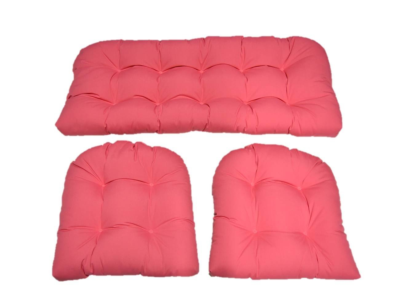 3 Piece Wicker Cushion Set - Solid Hot Pink Indoor / Outdoor Fabric Cushion for Wicker Loveseat Settee & 2 Matching Chair Cushions