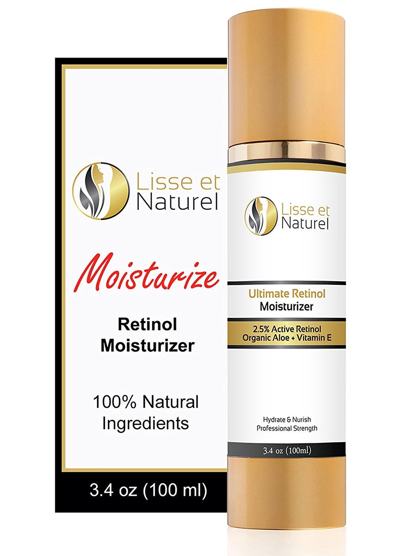 Lisse et Naturel Retinol Facial Moisturizer - Contains 2.5% Retinol, Hyaluronic Acid, Vitamin E and Vitamin B5