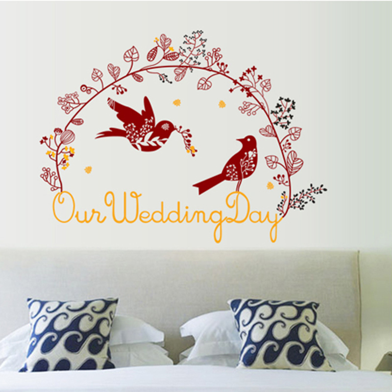 Removable Wall Stickers Home Decor Warm Bedroom Bedside Background Love Bird Magpie Pigeon Wedding Annunciation Decoration