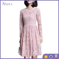 Wholesale Women Clothing Fashion Knee Length Pink Long Sleeve Lace Dress