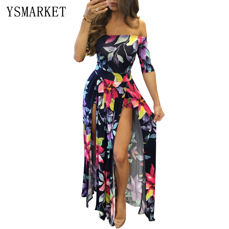 cf9110f9a5ef Plus Size Floral Print Off Shoulder Maxi Dress Women Sexy Slash Neck ...