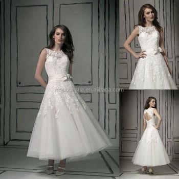 Top Quality 2014 Short Ball Gown Wedding Dress Jewel Neck Tea-length ...