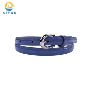 High sales quantity customized popular real PU leather slim strap wearing alloy buckle belt for woman dress