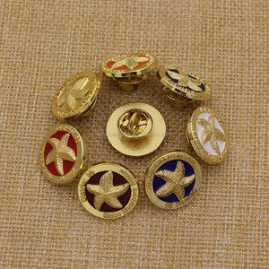 Promotion cheap round gold lapel pin/zinc alloy starfish badge