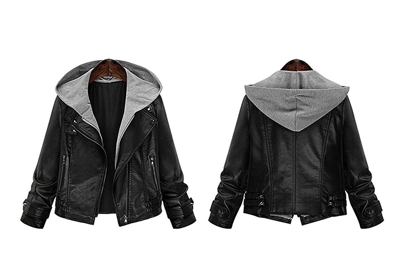 Doris Batchelor Fashion Women's Stylish Layered Moto Faux Leather Jacket, Lady's Short Zip Up Hooded Faux Leather Coat