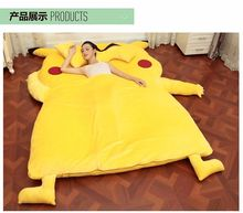 NEW Giant Pikachu Double Bed Sleeping Bag Sof Foam Sleepsuit Pokemon go airbed Pikachu Mattress Sofa Stuffed Giant Pikachu Plush