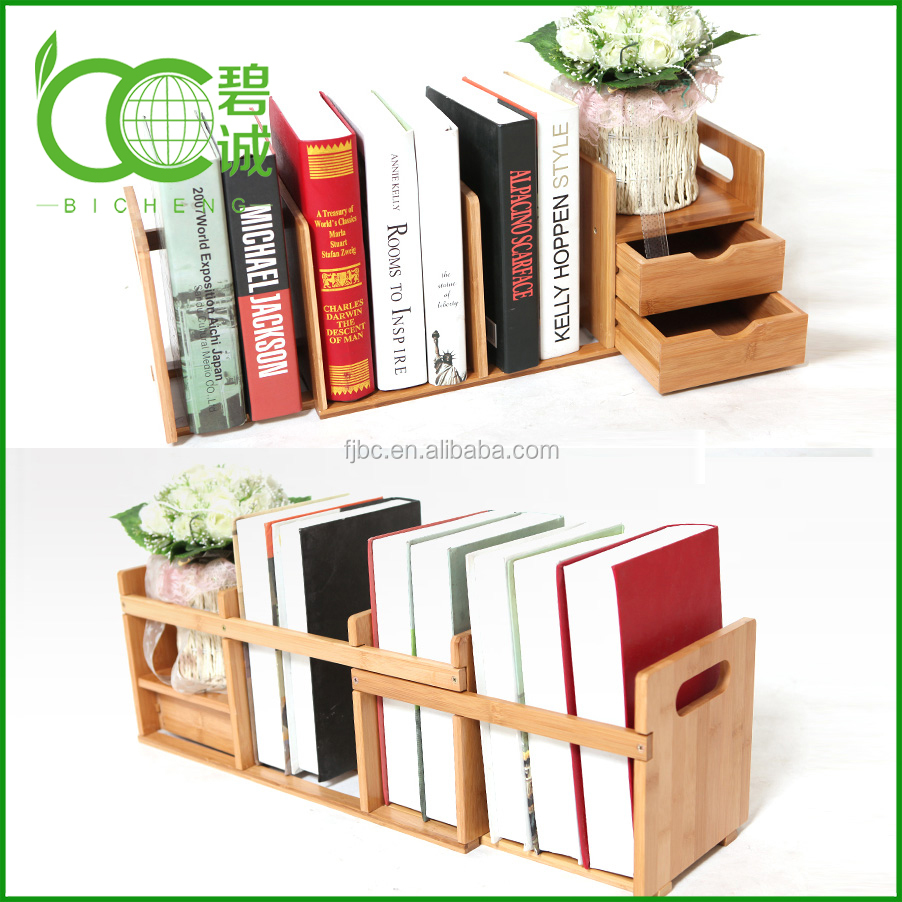 Expandable and Adjustable Bookshelf,Bamboo Desk Organizer with 2 Drawers for Office/Home